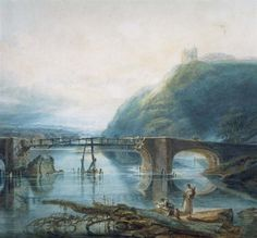 J.M.W. Turner painted this watercolour of the first Llandeilo Bridge and Dinefwr Castle in 1795 during one of his several sketching and painting tours of Wales.    ...maybe my great-great-great-great grandfather sold him some milk while he was in Llandeilo?!