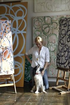 Artist Amanda Talley with border collie studio assistant Artist Workspace, Illustrations, Art Studios, Artist At Work, Love Art, Painting Inspiration, Abstract Art, Abstract Paintings, Contemporary Art