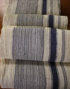Natural striped recycled hemp 5.6m Vintage by AsianTextileStudio