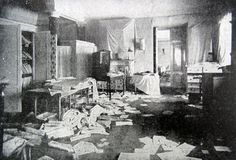 "Grand Duchesses Olga and Tatiana Nikolaevna Romanova of Russia's bedroom in the Winter Palace, ransacked in 1917. ""AL"""