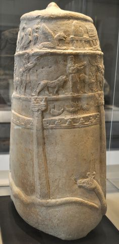 """""""Unfinished"""" Kudurru Kassite period, attributed to the reign of Melishipak (1186-1172 BC). Susa, Iran (where it had been taken as war booty in the 12th century BC). Limestone."""