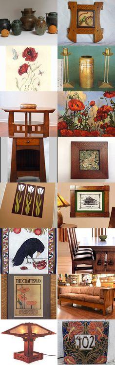 Arts and Crafts Movement No.4 by allan elliott on Etsy--Pinned with TreasuryPin.com | Pottery | Prints | Poppies | Jan Schmuckal | Roycroft | William Morris | Bungalow | Craftsman