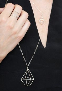 Geometric gem necklace