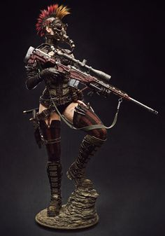 [image] Title: Steampunk Girl Name: Caio César Brachuko Fantini Country: Brazil Software: ZBrush max Photoshop XSI Submitted: June 2016 This is a model Ive been working on. I started it by using a Raven Mi… Post Apocalyptic Costume, Post Apocalyptic Art, Sniper Tattoo, Character Inspiration, Character Art, Character Design, Apocalypse Character, Wasteland Warrior, Apocalypse World