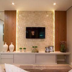 Home Theater Planejado Vidro 30 Ideas Tv Cabinet Design, Tv Wall Design, House Design, Living Room Tv Unit Designs, Tv Wall Decor, Home Theater Design, Home Tv, Living Room Decor, Decoration