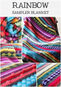 Rainbow Sampler Blanket Free Pattern Scrap Mixed Stitch Afghan