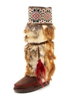 Lola Tall Faux Fur Boot with Knit Cuff