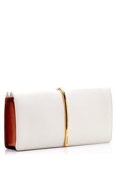 Foldover Leather and Suede Clutch by Nina Ricci - Moda Operandi