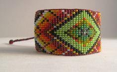 Huichol Inspired Contemporary Rainbow by pachamamanativeart, $43.00