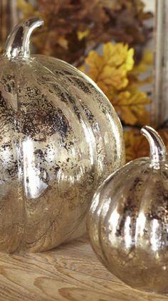 2.Antique Mercury Glass Pumpkins