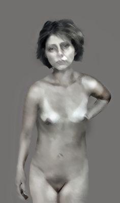 'Marny'  07.04.16 Digital Ink, Real People, Figurative, Statue, Portrait, Image, Art, Art Background, Headshot Photography