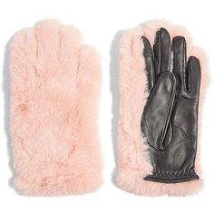 TOPSHOP Faux Fur & Leather Gloves ($23) ❤ liked on Polyvore featuring accessories, gloves, faux fur leather gloves, faux fur gloves, leather gloves and real leather gloves