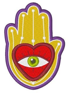 """Evil Eye Hamsa Embroidered Patch by TwistedStitcher Embroidery Embroidered evil eye hamsa sew/iron-on patch. Measures2.39"""" x 3.43"""" inches, made from Eco-felt nod Embroidery thread."""