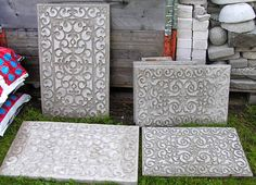 Rubber door mats also work as pretty molds for concrete stepping stones. Rubber door mats also work as pretty molds for concrete stepping stones. Concrete Stepping Stones, Concrete Forms, Concrete Pavers, Concrete Garden, Concrete Crafts, Concrete Casting, Concrete Steps, Concrete Blocks, Cement Patio