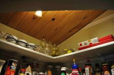 Once Upon a Cedar House: How to Install Pantry Shelves L Shaped Pantry, Cedar Homes, Household Organization, Track Lighting, Shelving, My House, Repurposed, Ceiling Lights, Building