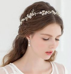 Pearl Decorated Headband Women Prom Crystal Crown by JimiBridal