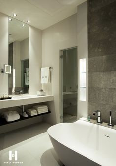 bathroom styling and accessories - The Hotel Murmuri in Barcelona with Interior designed by Kelly Hoppen Interiors Hotel Bathroom Design, Modern Bathroom, Hotel Bathrooms, Bathroom Designs, Bathroom Ideas, Luxury Bathrooms, Bathroom Pictures, Master Bathrooms, Bathroom Layout