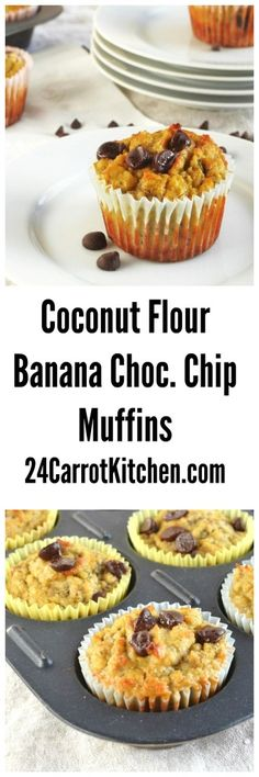 Coconut Flour Banana Chocolate Chip Muffins - fluffy, delicious, grain, gluten and dairy free! Recipes Using Coconut Flour, Baking With Coconut Flour, Paleo Dessert, Dessert Recipes, Paleo Sweets, Paleo Salmon Cakes, Banana Chocolate Chip Muffins, Coconut Flour Muffins Banana, Banana Bread