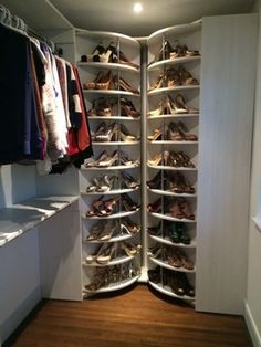 Spinning Shoe Rack Closet System - Lazy Lee modern-closet- holds over 200 pairs of shoes!