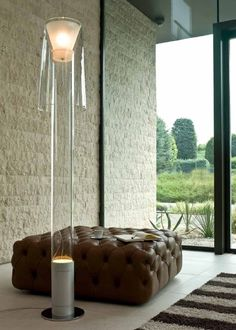 #Joint floor #lamp with structure in polished chrome #metal, stem and diffuser in #glass. #Penta   see more at albertopavanello.co.uk