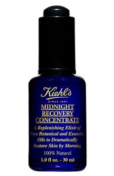 Kiehl's Since 1851 'Midnight Recovery Concentrate' Elixir.  is a natural replenishing elixir of pure botanical oils that provides vital nutrients to enhance skin's nighttime recovery. Lightweight treatment, restores skin's healthy appearance overnight & Results in smoother, more radiant complexion by morning. Press fingertips to cheeks, forehead, and chin to evenly distribute the application before gently massaging it into the skin. (200dhm)