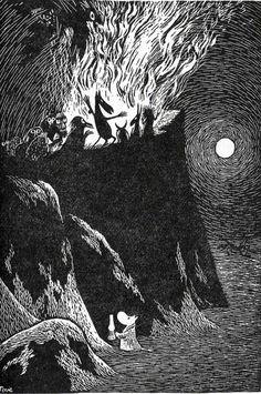 Tove Jansson's illustration (I love how cute she made that little moomin). Tove Jansson, Les Moomins, Illustrator, Arte Obscura, Art Manga, Scratchboard, Black And White Illustration, Norse Mythology, Children's Book Illustration
