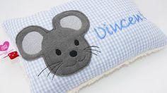 Namenskissen - Namenskissen ♥ Maus ♥ Taufkissen mit Wunschnamen - ein Designerstück von von-Eulen-und-Lerchen bei DaWanda