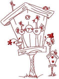 Embroidery pattern: Birdhouse stitch