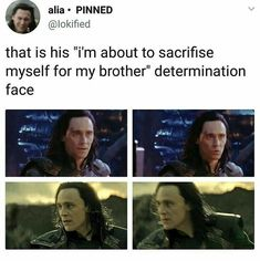 I'm not sure, it looks more like, don't you dare hurt my brother only I can fight with him. >>>> Whatever it is, it hurts, a lot! - Loki and Thor - Marvel Marvel Jokes, Avengers Memes, Loki Thor, Marvel Funny, Loki Laufeyson, Marvel Heroes, Marvel Avengers, Marvel Comics, Tom Hiddleston Imagines