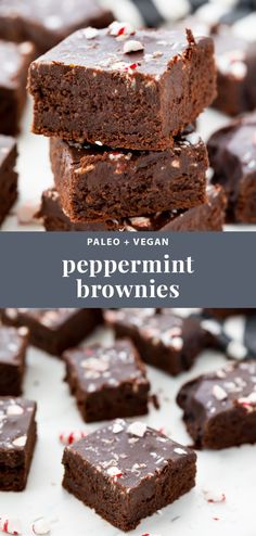 These paleo & vegan peppermint frosted brownies are so rich and delicious, a per. These paleo & vegan peppermint frosted brownies are so rich and delicious, a perfect health. Paleo Vegan, Paleo Diet, Paleo Baking, Baking Recipes, Paleo Recipes, Pillsbury Recipes, Delicious Recipes, Bread Recipes, Holiday Baking