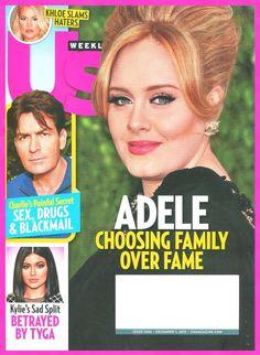 Us WEEKLY Magazine December 7, 2015 - ADELE Cover Charlie Sheen, Kloe, Kylie NEW