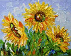 SUNFLOWER ORIGINAL ACRYLIC IMPRESSIONIST PALETTE KNIFE PAINTING BY OLGA TKACHYK Impasto Floral Abstract Modern Wall Art Canvas - Ready to Hang. This textured abstract floral painting will be a great addition to any art collection and hangs nicely with or without a frame. *SIZE :