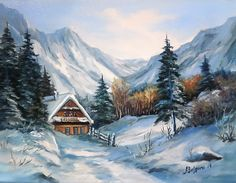 Farm Paintings, Bob Ross Paintings, Dream Pictures, Winter Pictures, Watercolor Art Diy, Watercolor Paintings, Landscape Art, Landscape Paintings, Winter Scenes To Paint