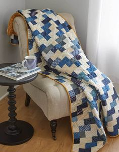 Inspired by an antique red and white quilt, Marianne Fons created this blue and cream version called From Sea to Shining Sea. Two-color quilts make quite a statement. Plus, this quilt meets the requirements for the Quilts of Valor Foundation! Get the quilt kit while supplies last.