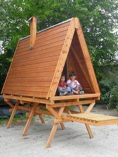 CABANE EN BOIS POUR ENFANT                 en ossature bois sur mesure Fabrication Française.