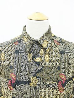 Vintage 90s AMAZING Crazy Pattern Print Paisley Pretty Mod Shirt XL