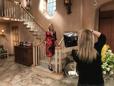 On set with Katherine Kelly Lang, CBS 2017