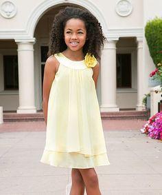 Look what I found on #zulily! Yellow Flower Yoke Dress - Toddler & Girls #zulilyfinds