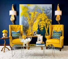 Mixing mustard Yellow with navy blue really makes this room pop #yellow #navy #pop #colour #livingroom #house #decorating