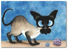 Siamese Cat - Pom Pom Toy Art - Art Prints or ACEO by Bihrle ck203
