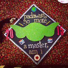 #graduation #cap #gradcap #2015 #2015grad #masters #MAT #mastersinartsandteaching #teacher #historyteacherswag #historyteacher #austincollege #AC #GOROOS #roonation #yoda #starwars #masterjedi #jedi