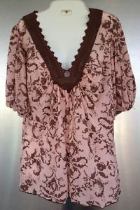 Pearl Star Womens Blouse Size Large Tunic Style Top V Neck