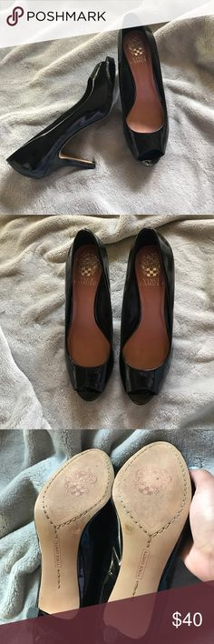 Vince Camuto peep toe heels Don't look as good on me as I thought :( in amazing condition only real flaw are two unnoticeable knicks in the back of the right shoe as pictured. Black, shiny, 3 inch heel, peep toe, size 7B/37 Vince Camuto Shoes Heels