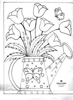 desenho de regador com tulipas para pintar