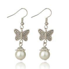 Dangling Tibetan Style Butterfly Earrings