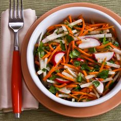 Recipe for Jicama and Carrot Slaw with Radishes, Cilantro, and Cumin-Lime Vinaigrette [from Kalyn's Kitchen] #GlutenFree  #SouthBeachDiet