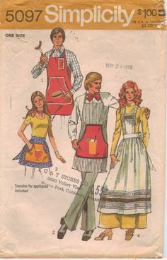 70s Simplicity Pattern 5097 Mens and Womens Set of Aprons One Size. $10.00, via Etsy.