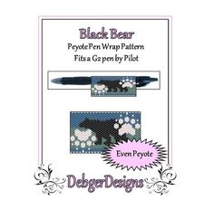 Bead Pattern Peyote(Pen Wrap/Cover)-Black Bear