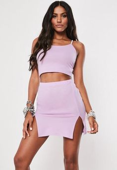 27a02d0d3b4 Lilac Cami Crop Top And Split Mini Skirt Co Ord Set