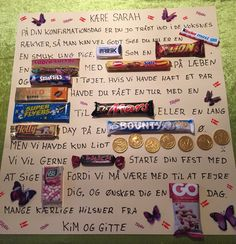 Billedresultat for sig det med slik kort Homemade Cards, Homemade Gifts, Diy Gifts, Easy Crafts, Diy And Crafts, Candy Gifts, Diy Projects To Try, Creative Gifts, Birthday Cards